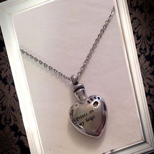 Jewelry - Prints on my heart dog memorial cremation necklace
